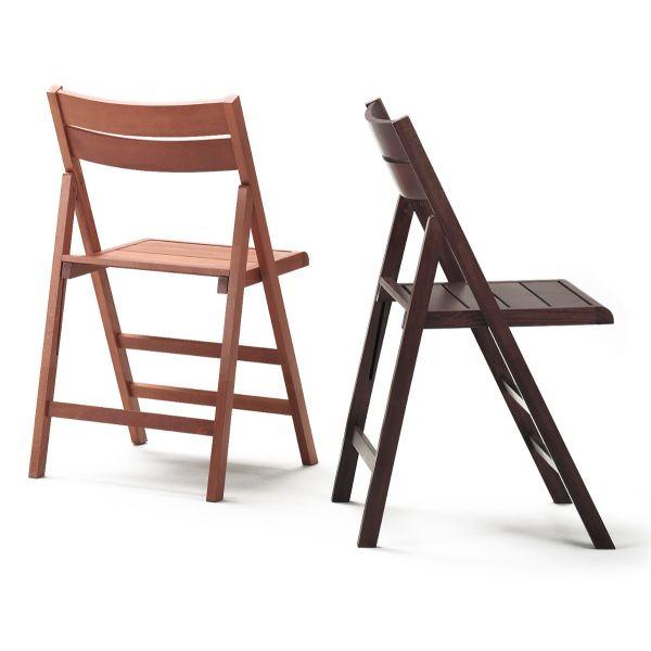 Sedia pieghevole salvaspazio in legno massello Dunolly