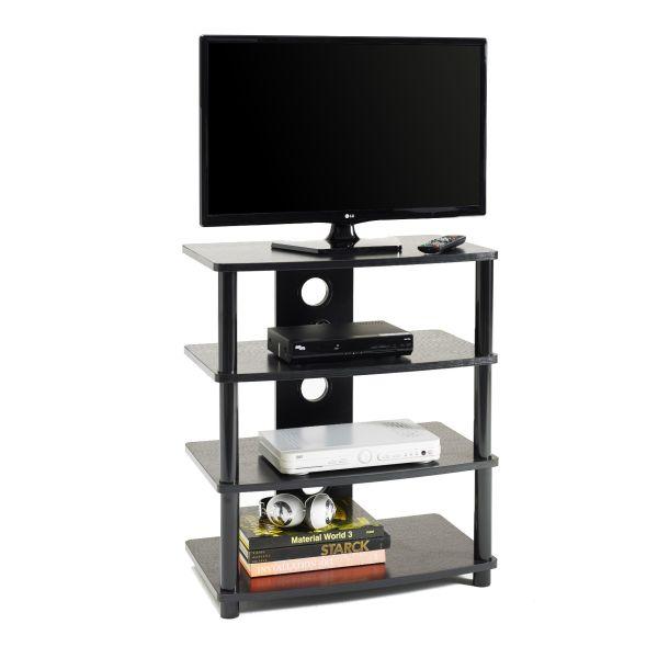 Mobile porta TV M2001L fisso in metallo e MDF a 4 ripiani con passacavi