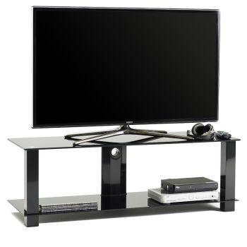 M5001L mobile porta TV fisso in metallo e vetro con passacavi 120 cm