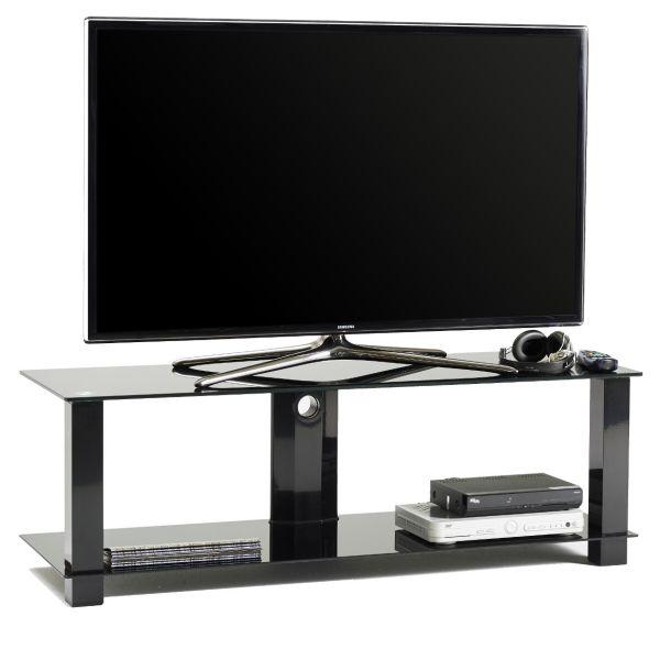 Mobile porta TV fisso in metallo e vetro con passacavi 120 cm Klever