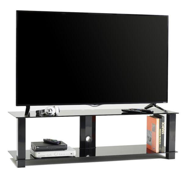 Jenson mobile fisso porta TV in metallo e vetro con passacavi 140 cm