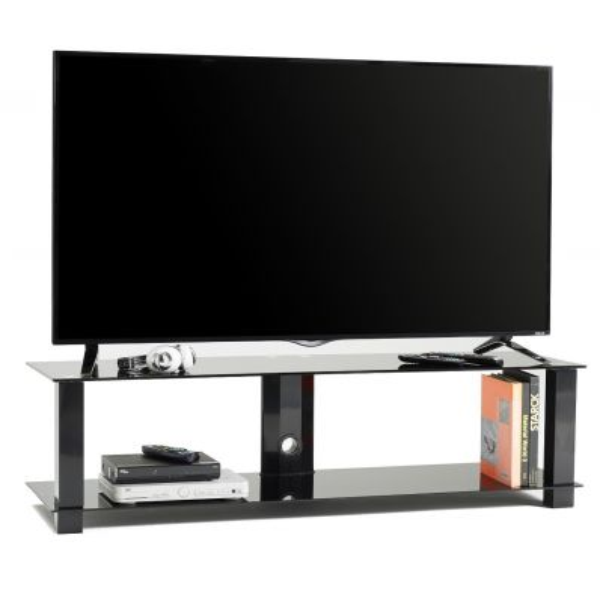 M6001L mobile fisso porta TV in metallo e vetro con passacavi 140 cm