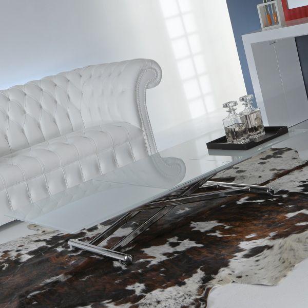 Mind Cristal tavolino da salotto alzabile e allungabile in tavolo 110x150 cm