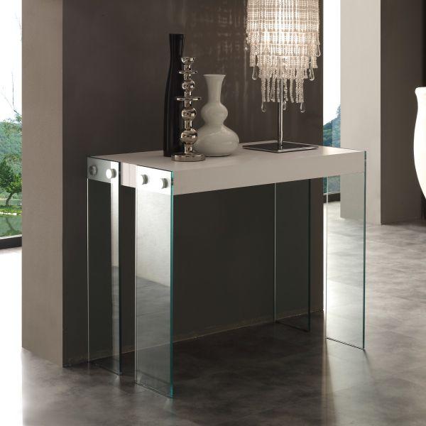 Tavolo consolle in vetro e legno allungabile fino a 200 cm Skim