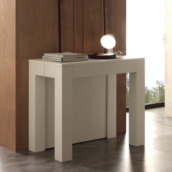Tavolo consolle allungabile in legno bianco poro aperto Klement