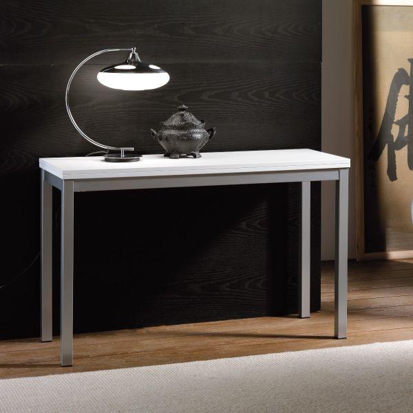Minime consolle tavolo raddoppiabile in metallo e legno 120 x 88 cm