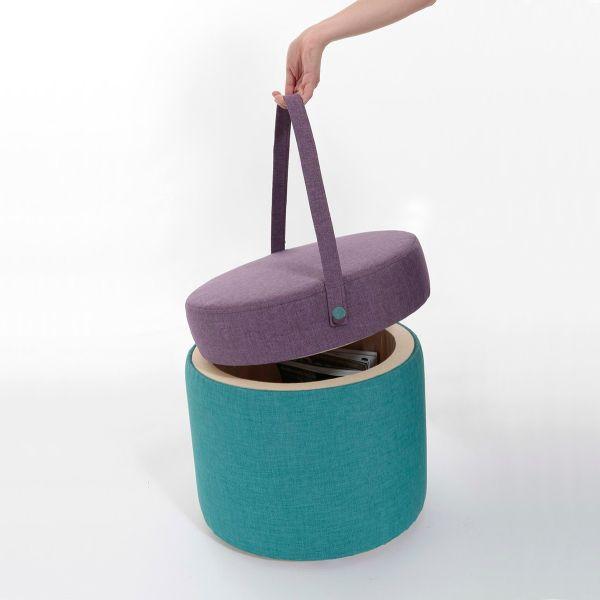 Bombonera pouff contenitore salvaspazio in legno e tessuto 45 cm