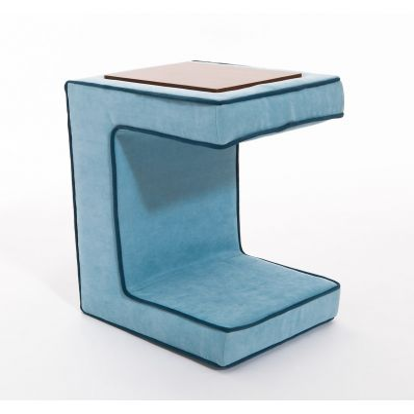Kombo pouff tavolino da salotto salvaspazio in legno e tessuto 50 cm