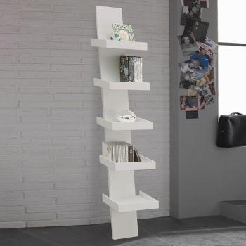 Libreria Climbing moderna da parete bianca in legno 30 x 155 cm