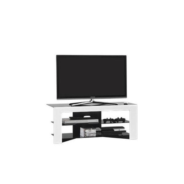 Mobile porta TV design Trix in legno bianco e cristallo 110 cm