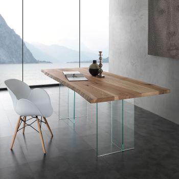 Aber tavolo da pranzo in cristallo e legno massello da 200 a 300 cm