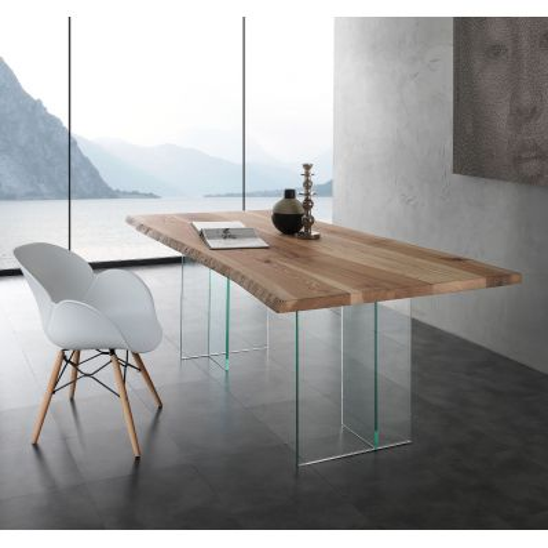 tavolo da pranzo in cristallo e legno massello da 200 a 300 cm
