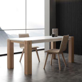 Woods Bic tavolo allungabile in legno massello laccato bianco 260 cm
