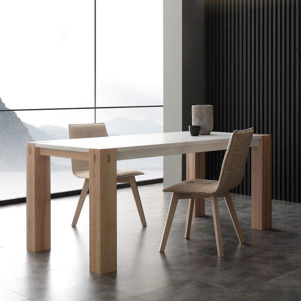 Tavolo allungabile in legno massello laccato bianco Woods Bic