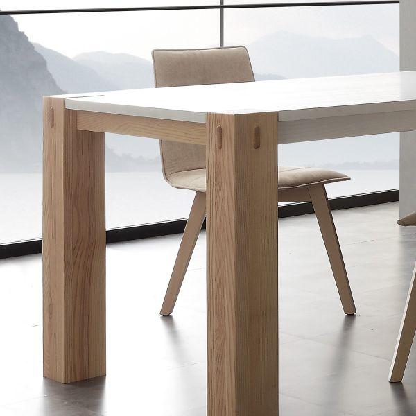 WOODS BIC tavolo allungabile DESIGN in legno massello laccato BIANCO ...