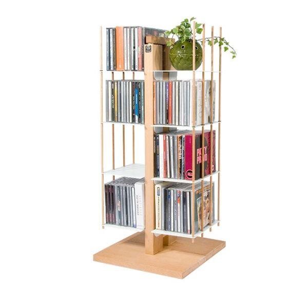 Porta CD a colonna da terra in legno massello 100 CD Zia Carmen