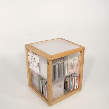 Zia Babele Trottola porta CD a colonna girevole in legno rovere 100 CD