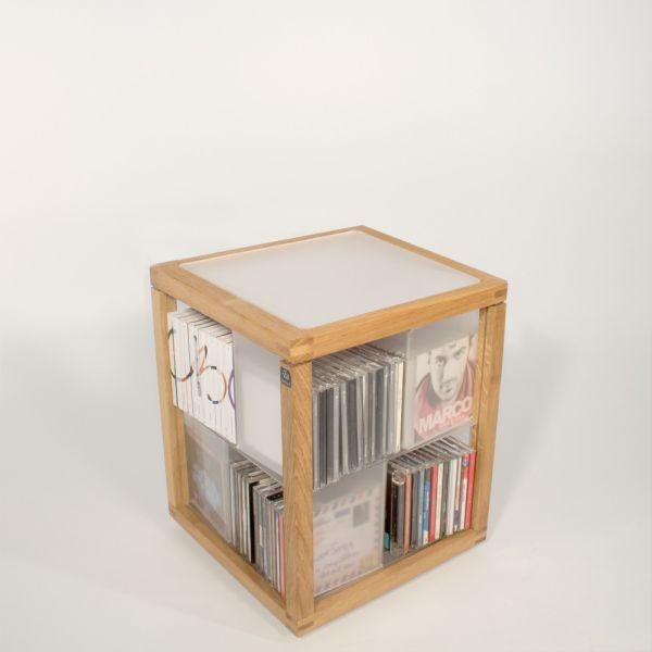 Porta CD a colonna girevole in legno 100 CD Zia Babele Trottola
