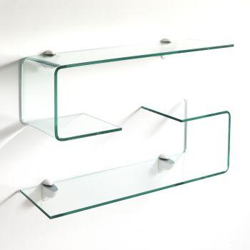 Pickup coppia mensole in vetro curvo 10 mm trasparente 75 cm