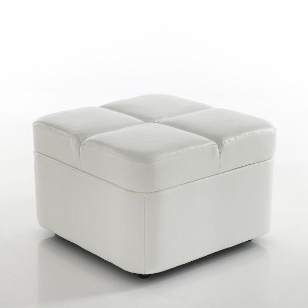 Sly pouf contenitore salvaspazio in pelle ecologica bianca