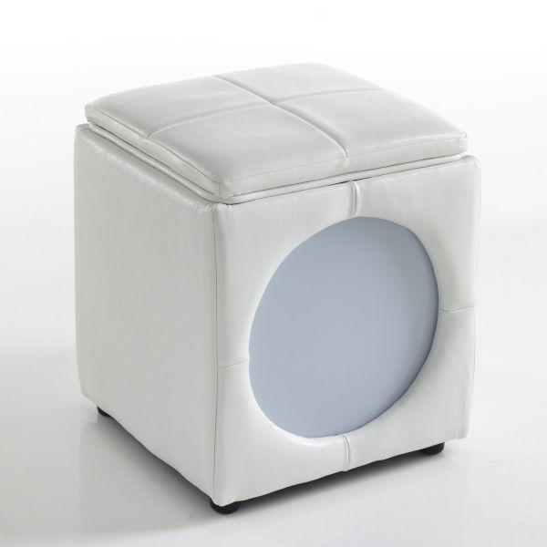 Lumina pouf luminoso cubo in pelle ecologica bianca