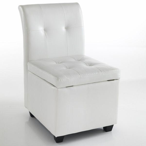 Genial sedia con contenitore salvaspazio in ecopelle Bianca