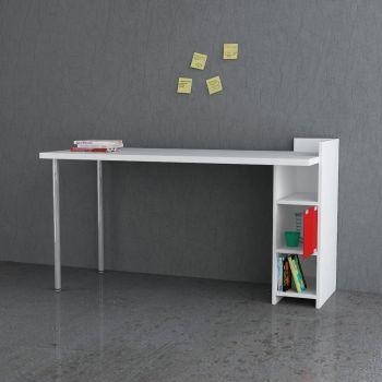 Slender scrivania con cassetti mensole in legno 140 x 60 cm
