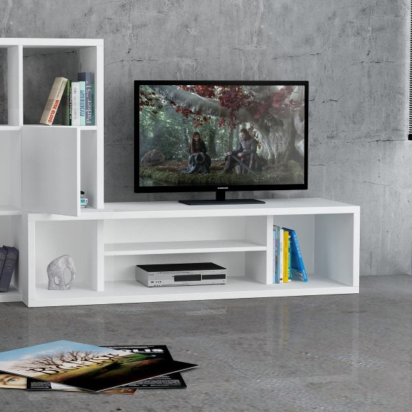 Starring mobile porta tv fisso in legno bianco con for Mobile porta tv moderno design