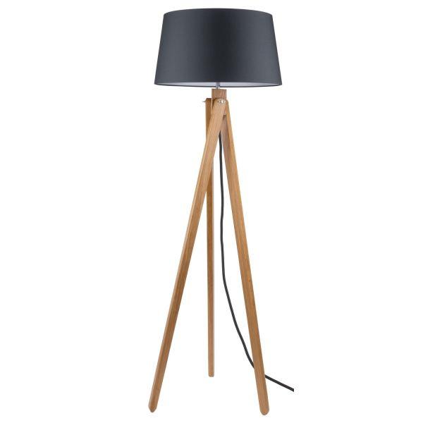Times lampada da terra design moderno in legno e metallo