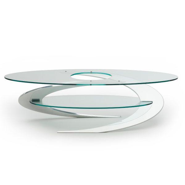 Tavolino Elica Iperdimensione da salotto in alluminio e cristallo 130 cm