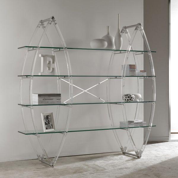 Eternal libreria autoportante in plexiglass e cristallo trasparente