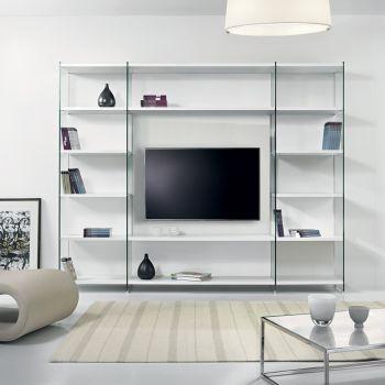 Libreria porta TV Byblos da parete in legno e vetro 250 x 200 cm
