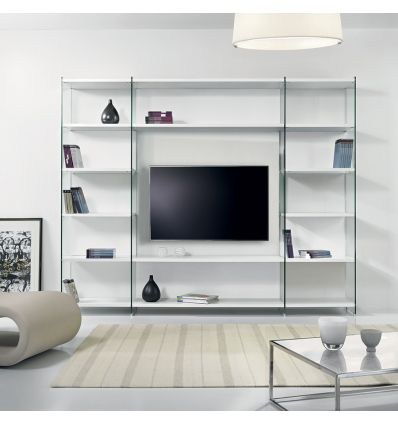 libreria porta tv byblos da parete in legno e vetro 250 x. Black Bedroom Furniture Sets. Home Design Ideas