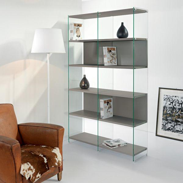 Libreria moderna Byblos5 separatoria in legno e vetro 120 x 200 cm