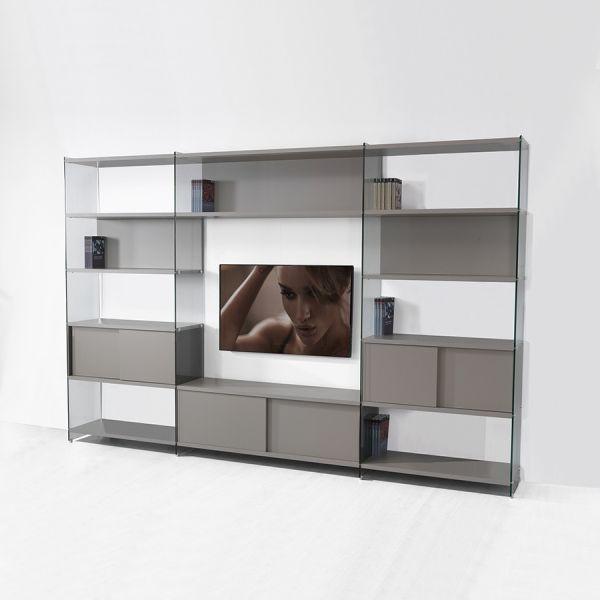 Libreria parete attrezzata Byblos8 porta TV per soggiorno