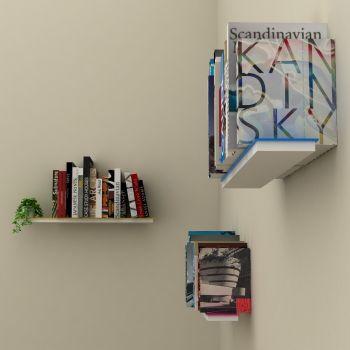 Mimetic set 3 mensole a scomparsa da parete per libri