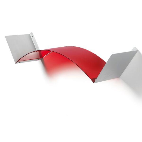 Mensola flessibile componibile in metacrilato Rosso Neutro Satinato Flexa