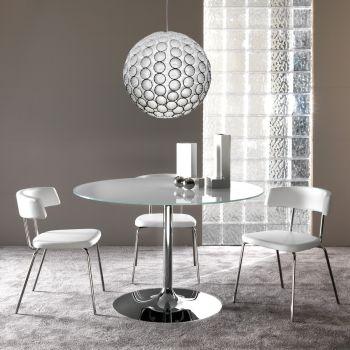 Hubbard tavolo da pranzo rotondo in cristallo e metallo da 60 a 120 cm