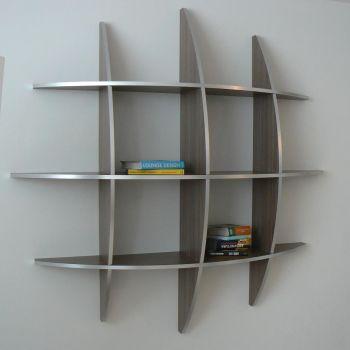 Libreria sferica Guidus170 in legno Wenghè da parete 125 o 170 cm