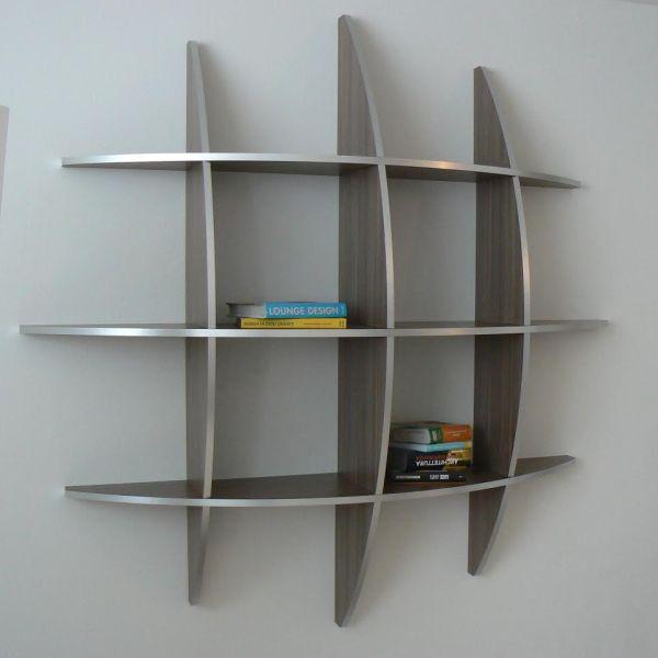 Libreria sferica in legno Wenghè da parete 125 o 170 cm Guidus170
