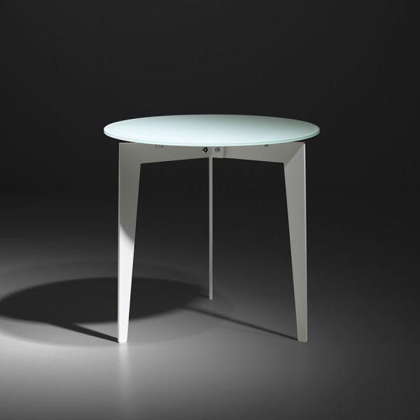 Nordic tavolino da soggiorno rotondo in acciaio e vetro