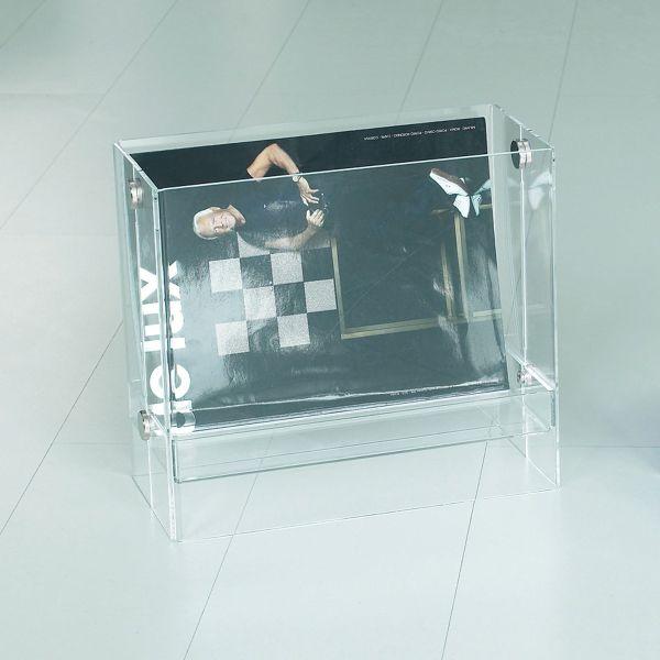 Portariviste in plexiglass moderno trasparente rosso o satinato Bibai