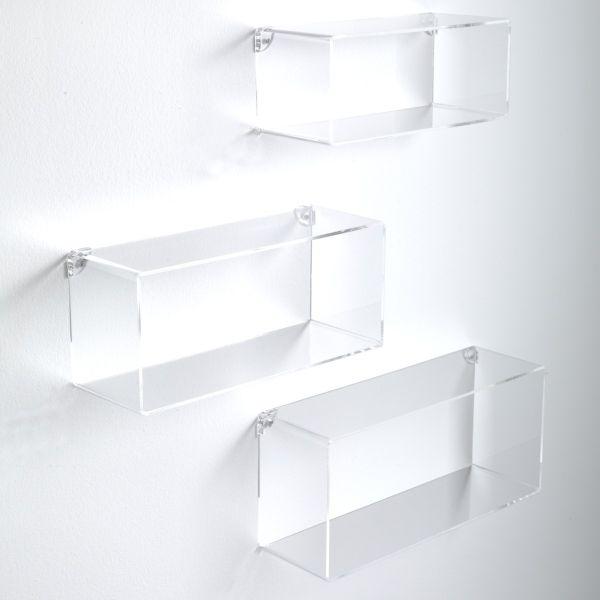 Klever set 3 mensole rettangolari da parete in plexiglass