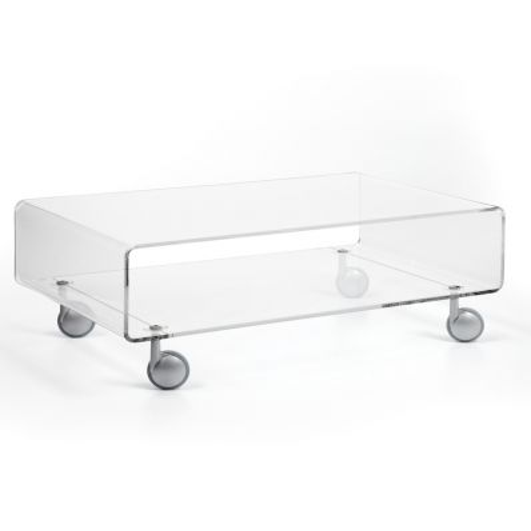 Andy 2 tavolino trasparente da salotto su ruote 84 x 50 cm