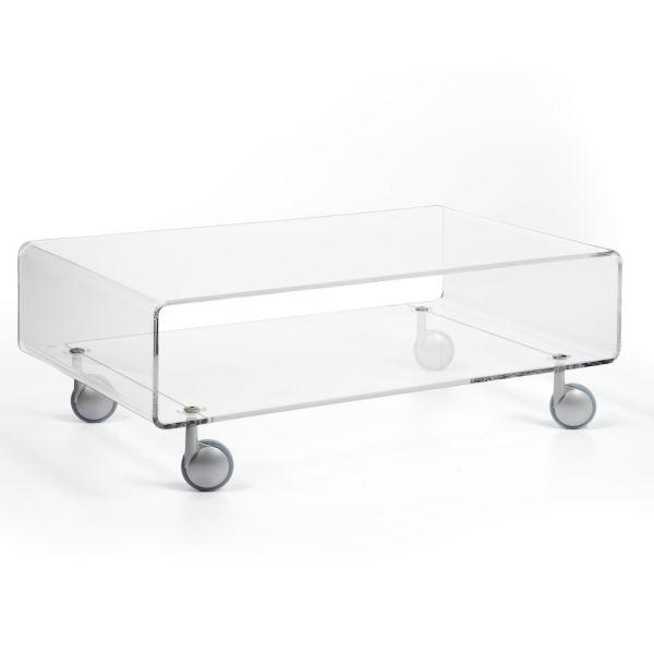 Tavolino da salotto trasparente su ruote 84 x 50 cm Andy 2