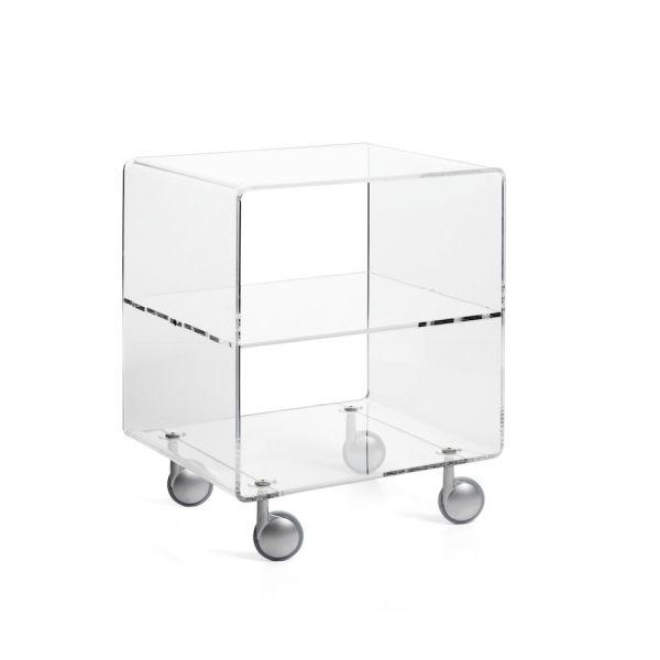 Carrello porta TV in plexiglass trasparente H60 cm Andy 3