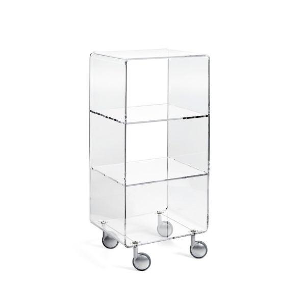 Andy 4 scaffale su ruote in plexiglass trasparente H90 cm