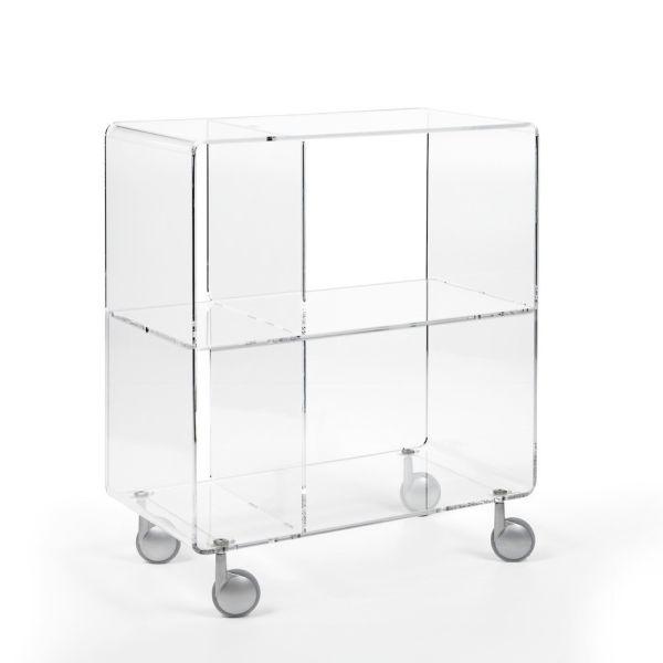 Andy 5 carrello porta TV in plexiglass trasparente H75 cm