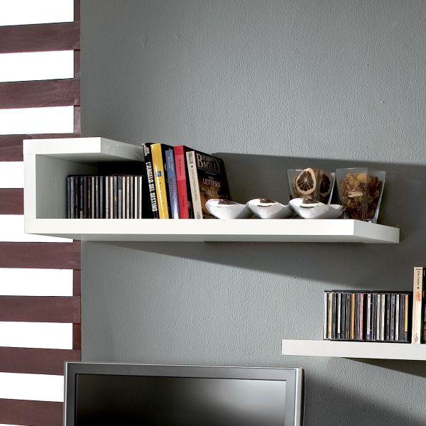 Mensola da parete in legno bianco lucido 100 cm kennedy - Mensole da parete design ...