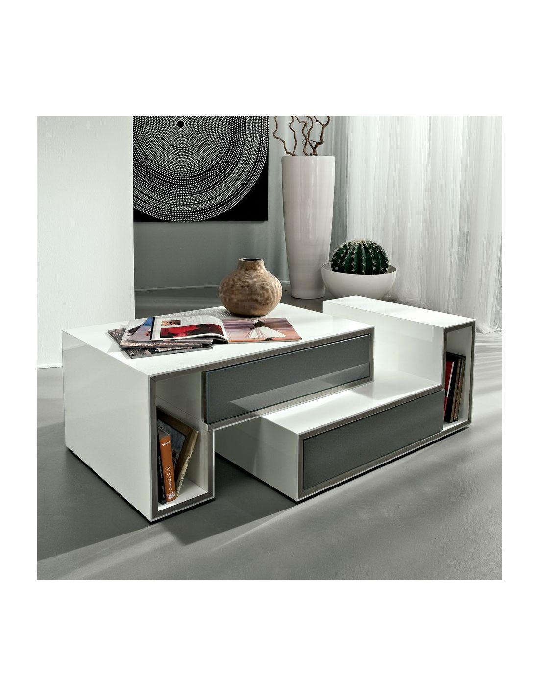 joaquim tavolo basso da soggiorno bianco lucido 100 x 55 cm